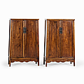 Pair of Large <b>Huanghuali</b> Cabinets, China, 17th century