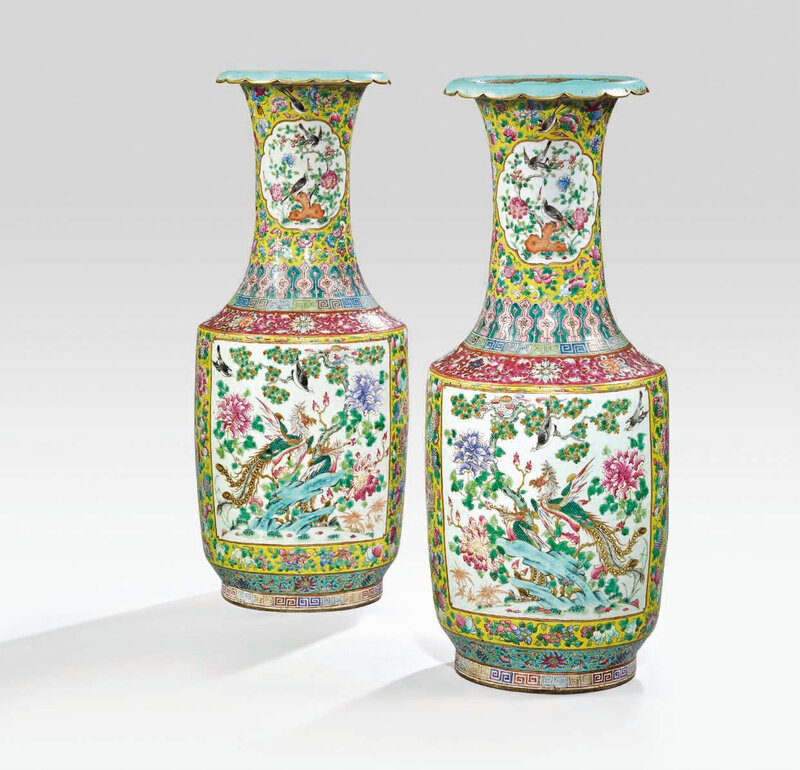 A large pair offamille rose'phoenix' vases, Late Qing dynasty (1644-1911)
