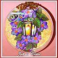 Boule 10cm Lanternes fleurs mauves deux faces versoo