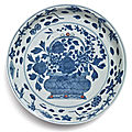 A blue and white polychrome-enameled '<b>flower</b> basket' dish, Wanli mark and period (1573-1619)