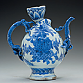 A rare blue and white peach-form ewer, Chongzhen period (1628-1644)