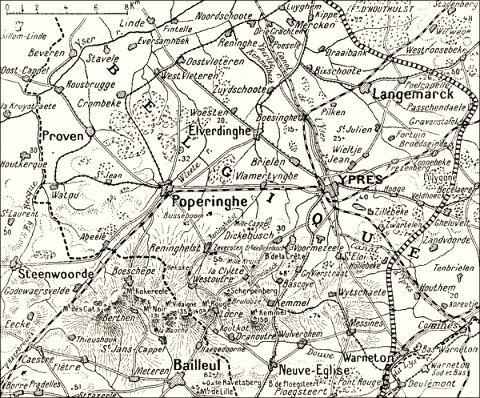 environs Langemark, carte