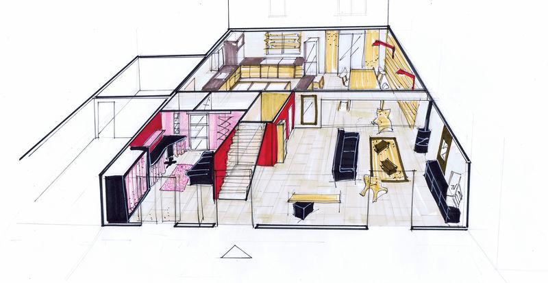 Aménagement d\'une maison sur plan (91 ) - rez de chaussée séjour ...