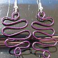 Boucles d'oreilles wire ondulation violet