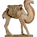 A Chinese painted pottery figure of a <b>Bactrian</b> camel, Tang dynasty (618-907)
