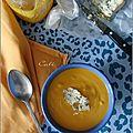 Crème de carottes, courge & patate douce au blue stilton