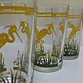 Vintage ... verres héron jaune (année 60)