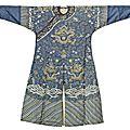 A kesi blue-ground <b>nine</b> <b>dragon</b> <b>robe</b> with the Buddhist emblems, China, 19th century.
