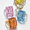 Four colored <b>rings</b> at Christie's, 14 April 2015, New York