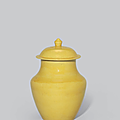 A yellow-glazed vase and cover, kangxi period (1662-1722)
