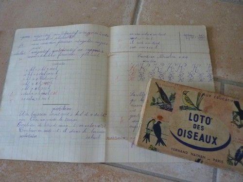 Cahier d'écolier 1939 et loto ancien