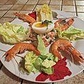 Salade de macédoine et crevettes