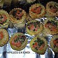 Mini quiche de champignons au saumon fumé