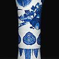 A blue and white <b>beaker</b> <b>vase</b>, Transitional period, Chongzhen (1628-1644)