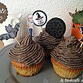 Cupcakes vanille et oreo pour halloween