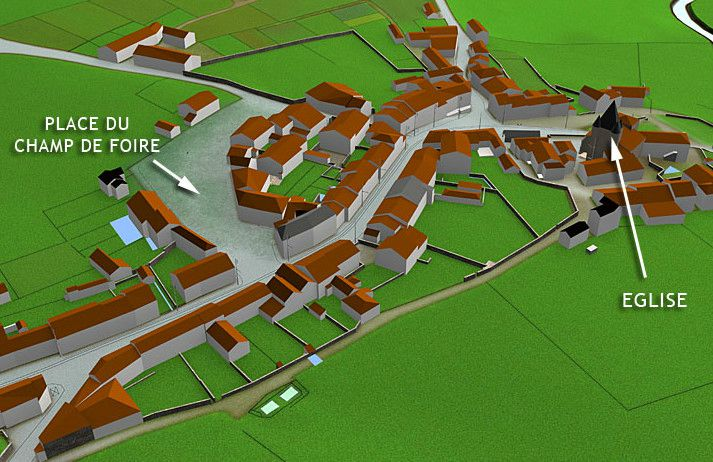 plan en 3D d'Oradour-sur-Glane