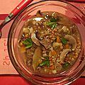Soupe aux champignons & au ble - mushroom barley soup
