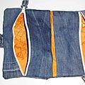 2 trousses en 1 foldingo en jean, fold and go double denim pouch
