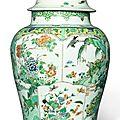 <b>A</b> large famille-verte <b>baluster</b> <b>jar</b> <b>and</b> <b>a</b> <b>cover</b>, Qing dynasty, Kangxi period (1662-1722)