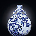 A Blue and White Flower and <b>Bird</b> Moonflask, Yongzheng Period, 1723-1735