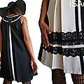 Robe trapèze Tendance Automne Hiver 2014 2015 Graphique Couture à dentelle Noir/ Blanc crème 2014 2015