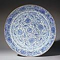A large <b>Safavid</b> blue and white soft paste porcelain dish. <b>Safavid</b> Iran, second half 17th century