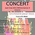 Orchestre pour Tous en <b>concert</b> - jeudi 13 mars 2014 - 18h45 - mairie du 13e arrdt