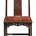 A rare mother-of-pearl inlaid <b>brown</b> <b>lacquer</b> side chair, yitongbei, Early Qing Dynasty