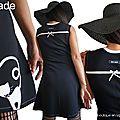 MOD 525B Robe noire blanc cassé Chat créateur made in France