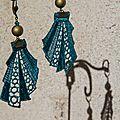 Des b.o dentelle bleu canard et bronze