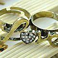 Bague 2 Doigts Style Vintage Love <b>Coeur</b> <b>Strass</b> Métal Couleur Bronze Ajustable