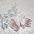 Peigne à cheveux fleurs blanc turquoise