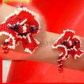 Hibicus Rouge/noir/creme (le bracelet - crea perso)