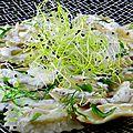 Ravioles au crabe , émulsion fenouil deux versions sans lactose ou pas