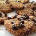 Cookies riz-chataigne pralinées aux pépites de chocolat et amandes
