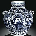 An important blue and white 'daoist <b>immortal</b>' jar, Guan. Yuan dynasty