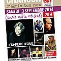 Info Culture : Soirée 'Chanson j'écris ton nom' 13 septembre 2014, Auguste Théâtre - Paris