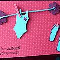 Carte artisanale exotique avec maillot de bain suspendu et tongs