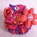 BAGUE BRODEE ROUGE MAUVE