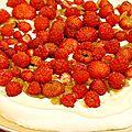 Pavlova fraise rhubarbe allégé en sucre