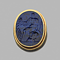 Broche. Lapis-lazuli et or. <b>Intaille</b>, XVIIe siècle