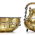 A gilt-bronze <b>tripod</b> <b>vessel</b> (hu) <b>and</b> <b>cover</b> with a basin, Han dynasty (206 BC-AD 220)