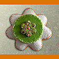 Broche fleur beige vert orange multi (N)
