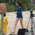 <b>Photos</b> de <b>tournage</b> BD : Edward et Bella jouant aux échecs sur la plage