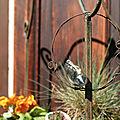 Sculpture oiseaux en céramique <b>raku</b> à suspendre au jardin
