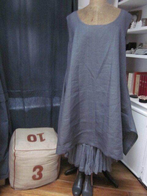 Robe EUPHRASIE en lin gris (2)