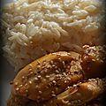 Risotto au poulet laqué à la bière et au miel