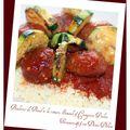 Boulettes de boeuf à la tomate, semoule & courgettes poêlées