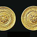 A pair of <b>Etruscan</b> gold ear studs, circa 530-500 B.C.