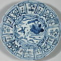 A group of four blue and white 'Kraak Porselein' dishes, Chongzhen period, circa 1643 4